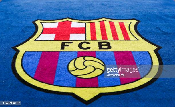The Barcelona club crest during the UEFA Champions League Semi Final first leg match between Barcelona and Liverpool at the Nou Camp on May 01, 2019...