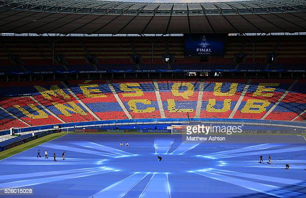 The Barcelona motto Mes Que Un Club is displayed at the Olympic stadium Berlin