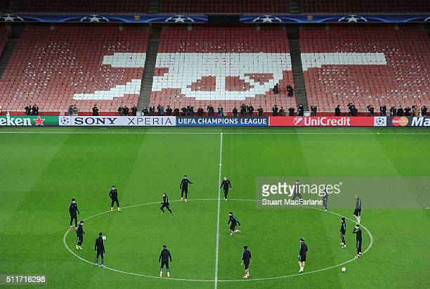 The Barcelona squad train at Emirates Stadium ahead of the UEFA Champions League Round of 16 1st Leg match between Arsenal and Barcelona on February...