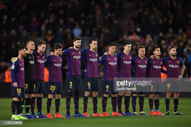 The Barcelona starting XI line up ahead of the Copa del Rey Quarter Final second leg match between FC Barcelona and Sevilla FC at Nou Camp on January...
