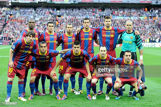 The Barcelona team group before the start of the UEFA Champions League final between FC Barcelona and Manchester United FC at Wembley Stadium on May...