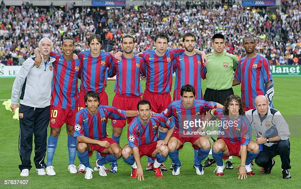 The Barcelona team line up before the UEFA Champions League Final between Arsenal and Barcelona at the Stade de France on May 17 2006 in Paris France