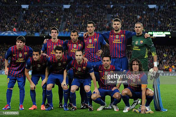 The Barcelona team line up during the UEFA Champions League Semi Final second leg match between FC Barcelona and Chelsea FC at Camp Nou on April 24...