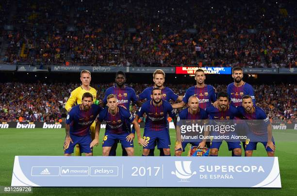 The Barcelona team line up for a photo prior to kick off during the Supercopa de Espana Supercopa Final 1st Leg match between FC Barcelona and Real...