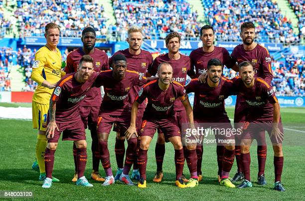 The Barcelona team line up for a photo prior to kick off during the La Liga match between Getafe and Barcelona at Coliseum Alfonso Perez on September...