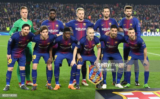 The Barcelona team line up prior to the UEFA Champions League Round of 16 Second Leg match FC Barcelona and Chelsea FC at Camp Nou on March 14 2018...