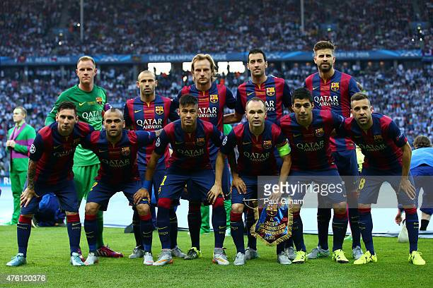 The Barcelona team lines up during the UEFA Champions League Final between Juventus and FC Barcelona at Olympiastadion on June 6 2015 in Berlin...
