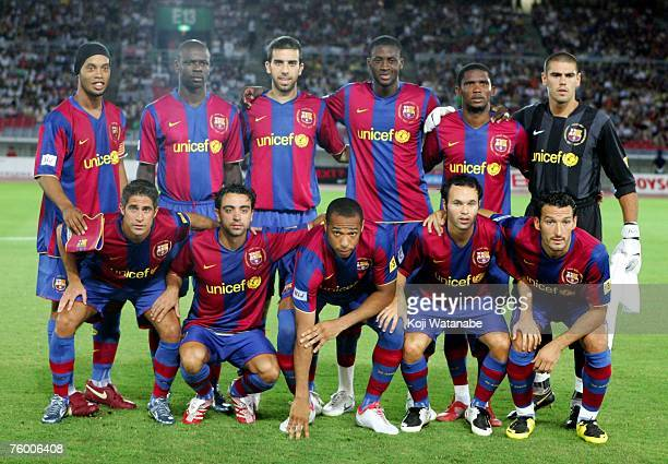 The Barcelona team lines up for the start of the friendly match between Yokohama Marinos and Barcelona at Nissan Stadium on August 7 2007 in Yokohama...