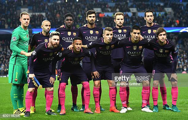 The Barcelona team pose for a photograph prior to kick off during the UEFA Champions League Group C match between Manchester City FC and FC Barcelona...