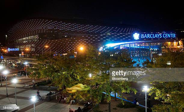 The Barclays Center stands in the Brooklyn borough of New York, U.S., on Sunday, Oct. 21, 2012. The Barclays Center, the 675,000-square-foot arena...