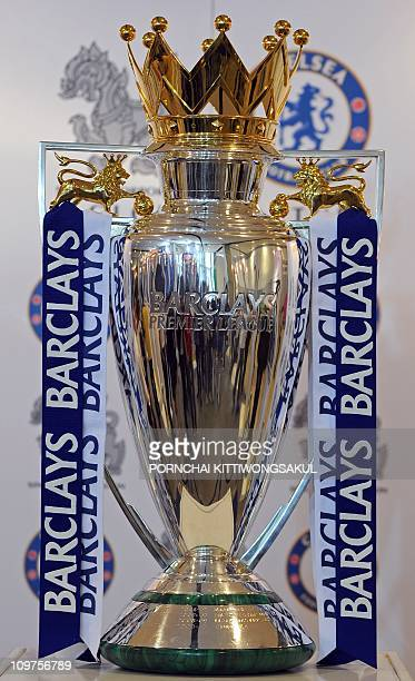 The Barclays Premier league trophy is displayed at shopping mall in Bangkok on March 4 2011 The Barclays Premier league trophy is on tenday tour in...