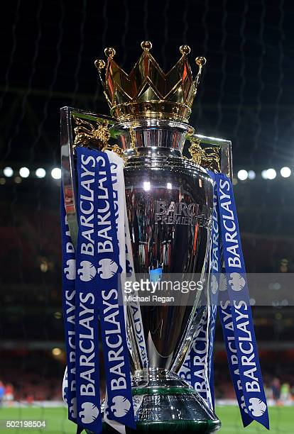 The Barclays Premier League Trophy is displayed prior to the Barclays Premier League match between Arsenal and Manchester City at Emirates Stadium on...