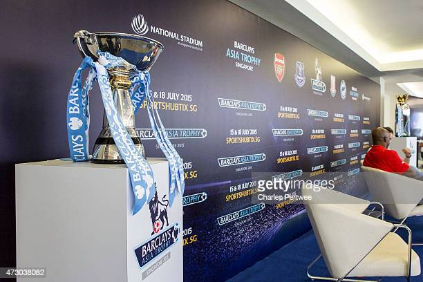 The Barclays Premier League trophy on display as Ian Wright former Arsenal playeris interviewed before the during the Ticket Launch for the Barclays...