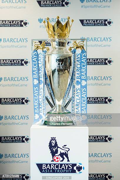 The Barclays Premier League trophy on display during a QA at the Barclays office during the Barclays Asia Trophy 2015 Ticket Launch day 2 on May 13...