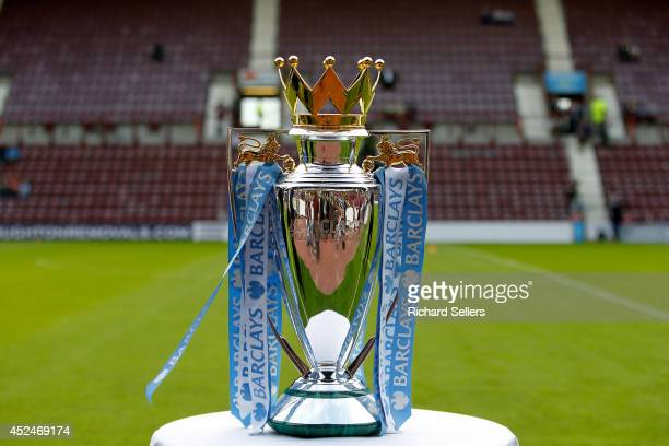 The Barclays Premiership Trophy on display before the preseason friendly at Tynecastle Stadium on July 18 2014 in Edinburgh Scotland