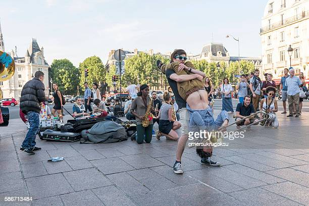 The bare brass band busking at Paris, France