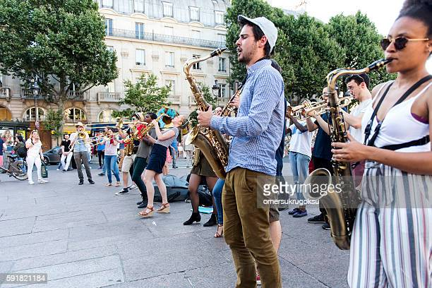 The bare brass band busking at Paris, France.