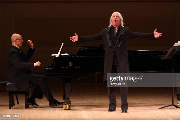 The baritone Dmitri Hvorostovsky accompanied by Ivari Ilja on piano performed the songs by Rachmaninoff and Georgy Sviridov at Carnegie Hall on...