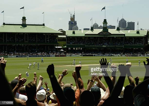 The Barmy Army celebrate as England take the final Australian wicket on the fifth and final day of the fifth Ashes Test between Australia and England...