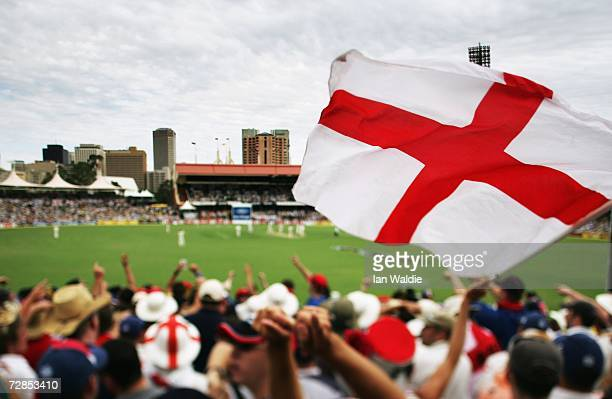 The Barmy Army celebrate on 'The Hill' at the Adelaide Oval cricket ground during the second Ashes test December 1 2006 in Adelaide Australia The...