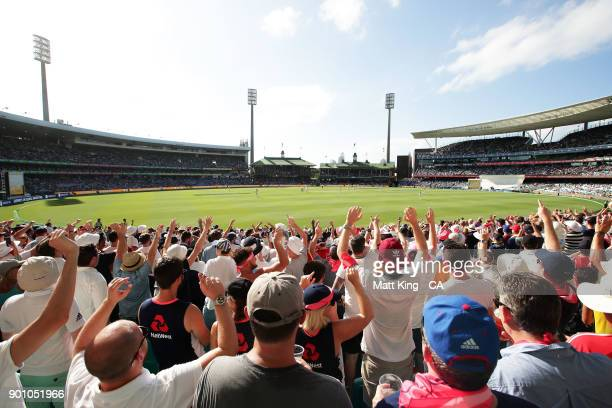The Barmy Army cheer during day one of the Fifth Test match in the 2017/18 Ashes Series between Australia and England at Sydney Cricket Ground on...