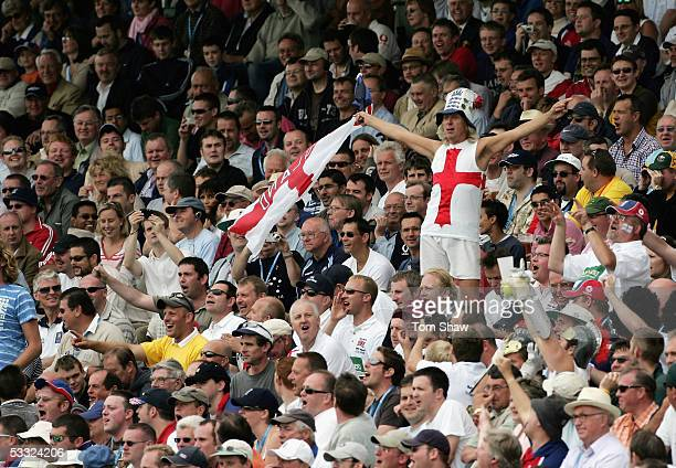 The Barmy Army in full voice during day one of the Second npower Ashes Test match between England and Australia at Edgbaston on August 4 2005 in...