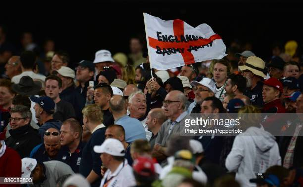 The Barmy Army on the hill during the fourth day of the second Ashes cricket test match between Australia and England at the Adelaide Oval on...