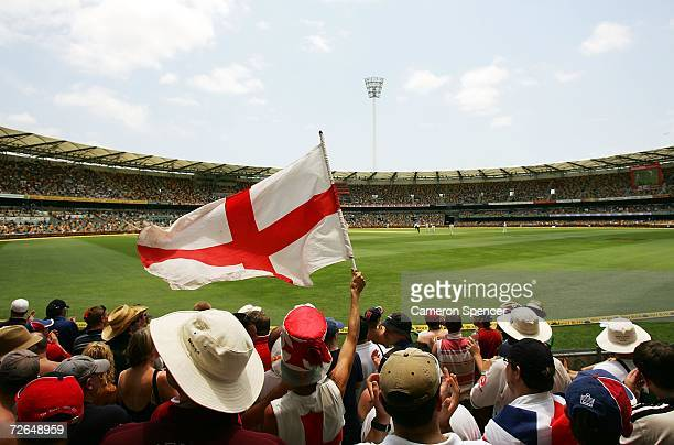 The Barmy Army show their support for the England team during day five of the first Ashes Test Match between Australia and England at The Gabba on...