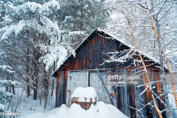 the barn in the blizzard - dustin abbott stock pictures, royalty-free photos & images