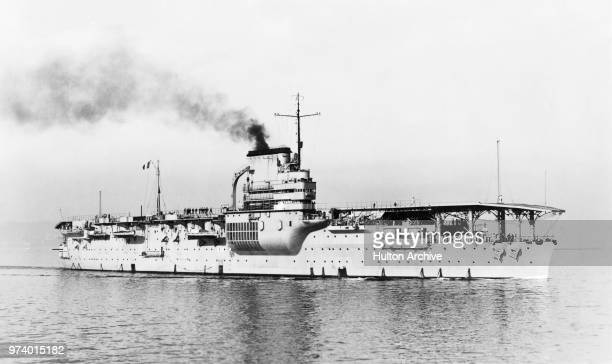 The Béarnclass aircraft carrier Béarn the first carrier of the French Navy Marine Militaire Francaise during manoeuvres in the Mediterranean circa...