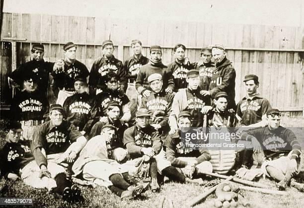 The barnstorming Native team called The Nebraska indians pose for a team photo aroung 1885 in Lincoln Nebraska