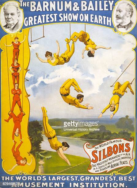 The Barnum Bailey greatest show on earth c1896 Circus poster showing trapeze artists
