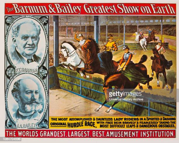 The Barnum Bailey Greatest Show on Earth The Worlds Grandest Largest Best Amusement Institution Lady Riders Hurdle Race Circus Poster Lithograph 1904