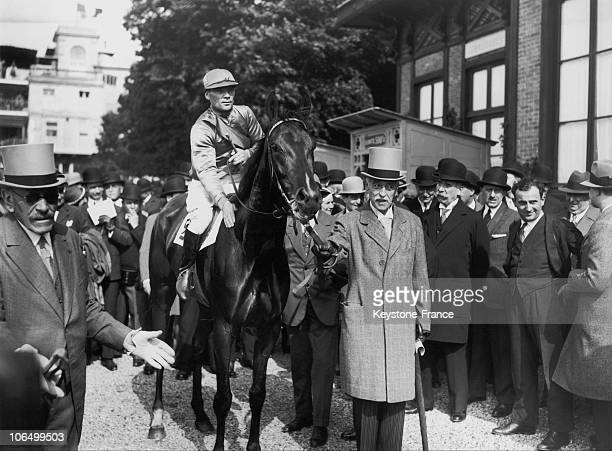 The Baron Edouard De Rothschild Leading His Horse Perruche Bleue Mounted By The Jockey Herve To The Paddock After It Won The Prix De Diane At...