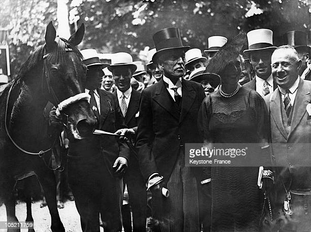 The Baron Edouard De Rothschild With His Horse Penicle At The Paris Grand Prix In 1935