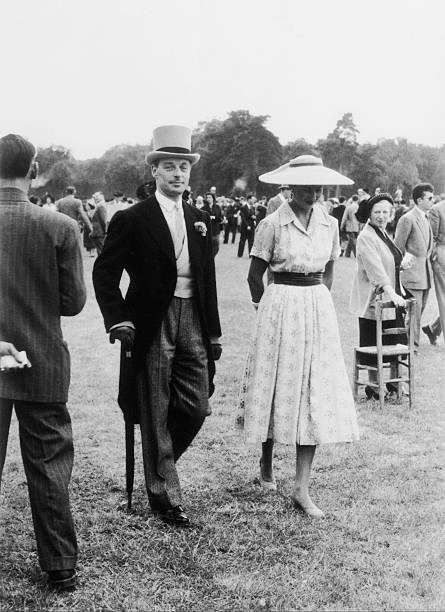 The Baron Guy De Rothschild And His Wife At Longchamp 1956