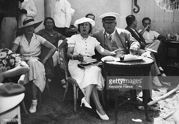 The Baron Henri De Rothschild Accompanie Probably By His Wife Having BeforeDinner Drinks In Biarritz In 1934
