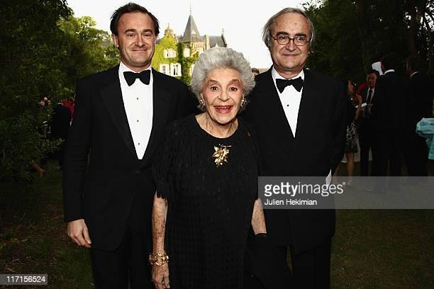 The Baroness Philippine de Rothschild her son Julien Sereys de Rothschild and JeanPierre de Beaumarchais attend 'La Fete de la Fleur' at Chateau de...