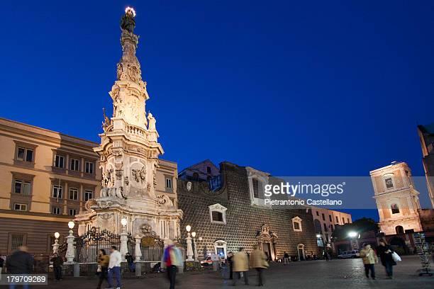 The baroque obelisk in Piazza del Gesù Nuovo in Naples