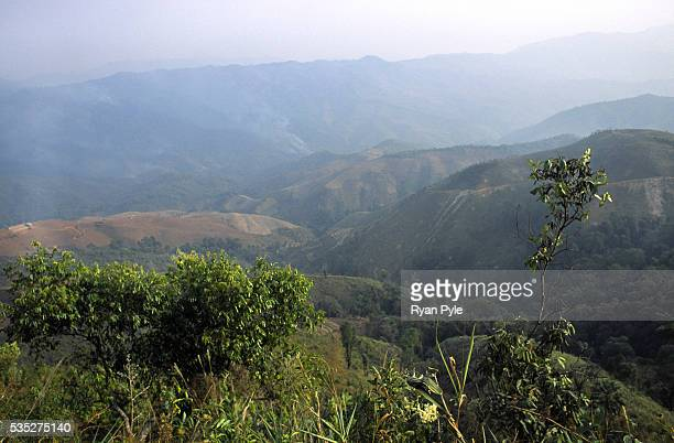 The barren hills in a remote region near the border with Burma in China's Xishuangbanna region In the 1940's and 1950's China's Xishuangbanna region...