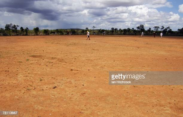 The barren outfield at 'Drinkastubbie Downs' is seen during the Goldfield Ashes January 26 2007 in Charters Towers Australia Every Australia Day...