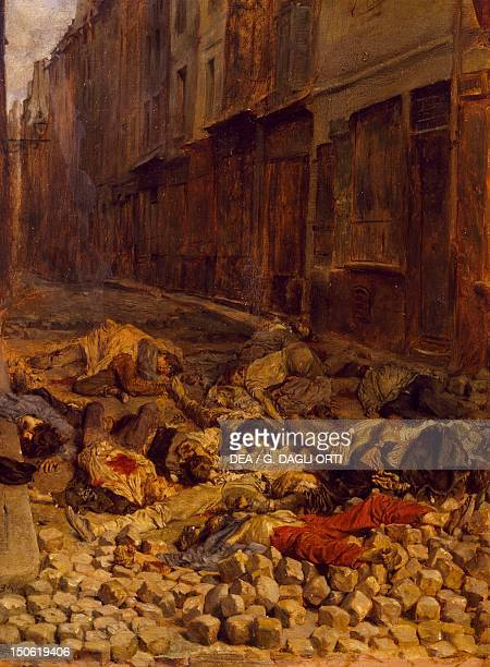 The barricade painting by Ernest Meissonier depicting a Parisian scene from the 1848 Revolution France 19th century