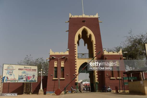 The barrier is lifted at the gate to Palace of the Emir of Kano Sanusi Lamido Sanusi in Kano on February 14 2019 The Palace of the Emir of Kano...