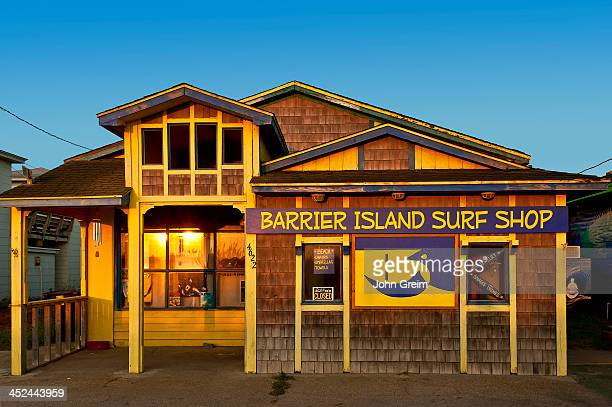 The Barrier Island Surf shop at sunrise.