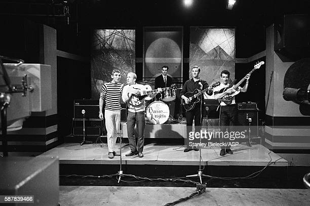 The Barron Knights rehearsing for a TV show United Kingdom circa 1965 LR Duke D'Mond Peter 'Peanut' Langford Dave Ballinger Butch Baker Barron Anthony