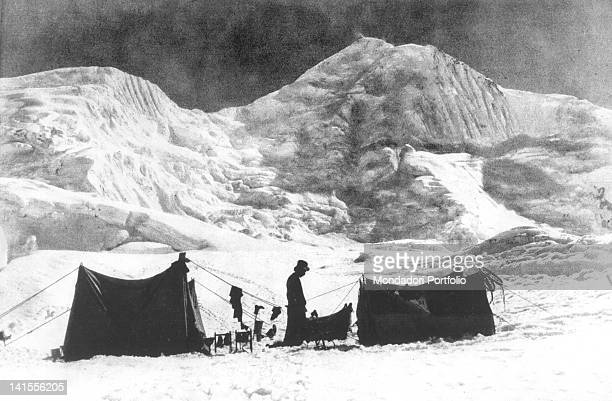 The base camp of the expedition of Luigi Amedeo of Savoy Aosta Duke of Abruzzi on the slopes of the mountain Broad Peak in the Karakorum chain...