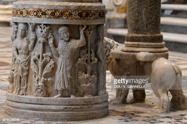 The base of the candelabrum of the Easter candle cathedral of Sessa Aurunca Campania Italy 13th century