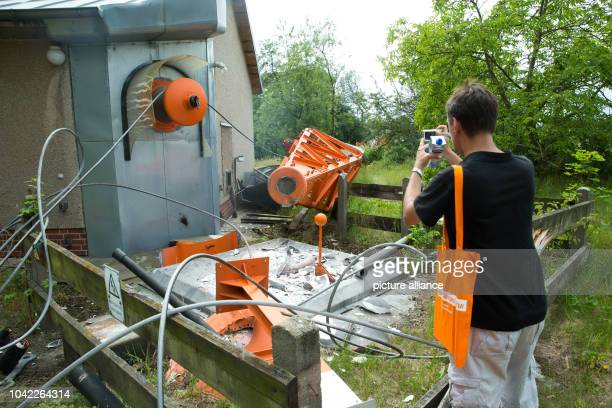The base of the former RIAS radio transmitter shortly after it was brought down in a controlled detonation in Berlin Germany 18 July 2015 It crashed...