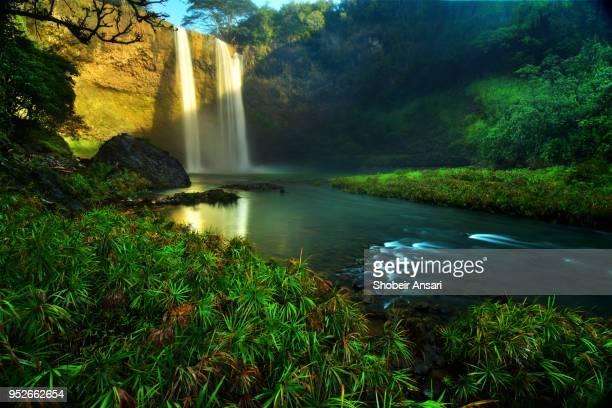 the base of wailua waterfall, kauai, hawaii - kauai stock pictures, royalty-free photos & images