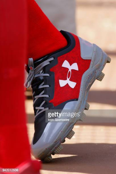 The baseball cleats of a Nationals player during the MLB game between the Atlanta Braves and the Washington Nationals on April 04 at SunTrust Park in...